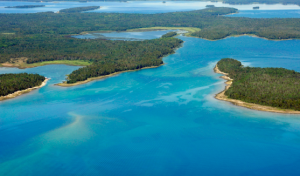 Arial view of Les Cheneaux islands