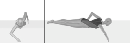 image of swimmer during the recovery phase of front crawl from both side and head on views